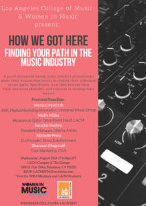 LACM & WIM Panel | How We Got Here, Finding Your Path in the Music Industry | Aug 23 @ LACM Garage | Pasadena | California | United States