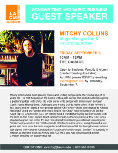 Songwriting & Music Business | Mitchy Collins | Sept 8th @ LACM Garage | Pasadena | California | United States