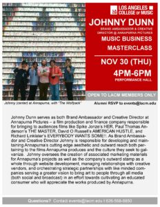 Music Business Masterclass | JOHNNY DUNN | Nov 30 @ LACM Performance Hall | Pasadena | California | United States